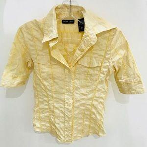New York & Company Yellow Blouse Top XS